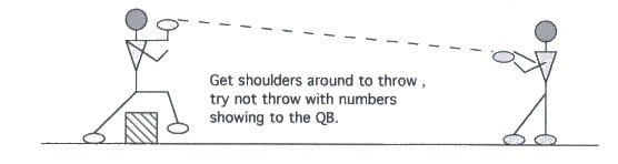 Illustration of Quarterback Step Over and Throw Drill