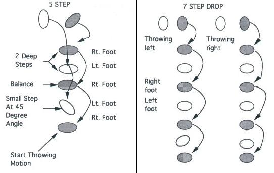 Illustration of QUARTERBACK 5 AND 7 STEP DROP DRILL