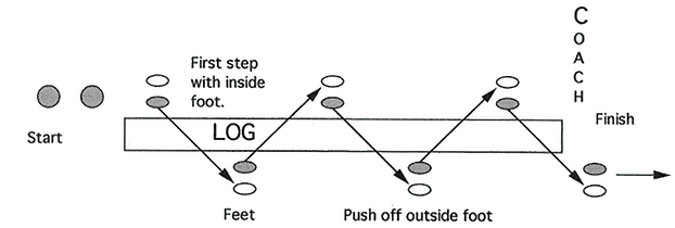 Illustration of RUNNING BACK STEP AND PLANT OVER LOG DRILL